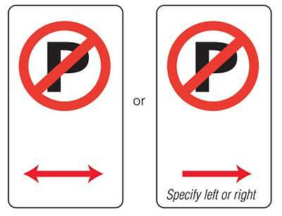 No Parking Traffic Sign 450x225mm Metal Double Arrows (one sign only)