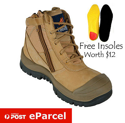 Mongrel Men's 461050 Steel Toe Size Zip Leather Safety Work Lace Up Ankle Boot
