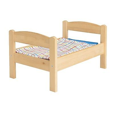 New IKEA Wooden Doll Baby Bed with Bed Linen Pine Wood Kids Childrens Toy DUKTIG