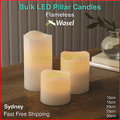 LED Pillar Candles Flameless Flickering Light Candle Bulk Tall Ivory Wax 3 Sizes