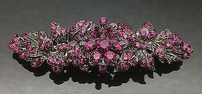 PURPLE GREY Wedding Crystal Antique Hair Comb Clip Barrette Bridal Formal 7cm