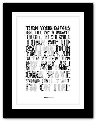 VAN HALEN - On Fire  ❤ typography quote poster art limited edition print #91