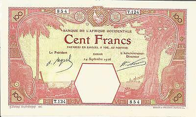 FRENCH WEST AFRICA  AFRIQUE OCCIDENTALE  100 FRANCS DAKAR 1926 PICK  11Bb  F TB