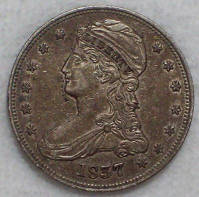 1837 SILVER Bust Half Dollar Reeded HALF DOL Type - XF Detailing *RARE Authentic