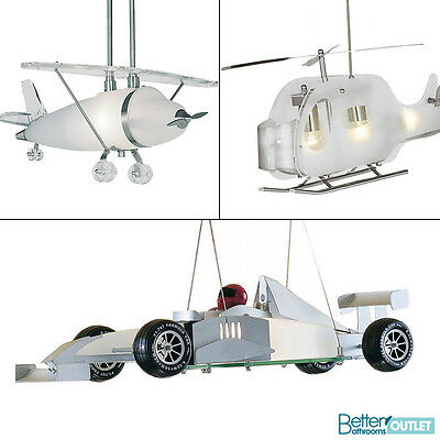Novelty Hanging Ceiling Light Frosted Glass IP20 Childrens Bedroom Car Plane