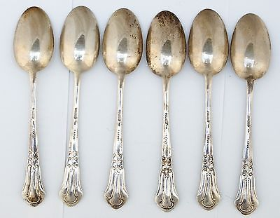Vintage Set of 6 Solid Silver Italian Tea Coffee Spoons Tafuri Italy Box