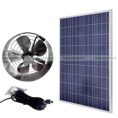 65W Solar Powered Exhaust Vent Fan Ventilator W/ 100W PV Solar Panel for Barn