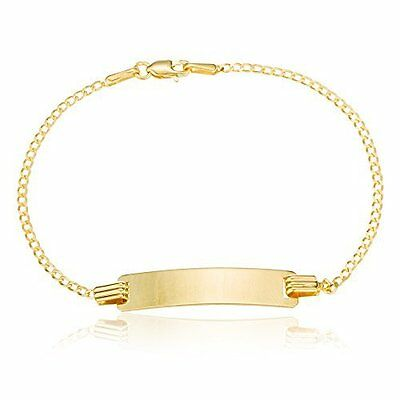 Real 10k Gold 5.5 Inch Baby Id Cuban Link Curb Chain Bracelet