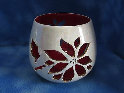 Beautiful Vintage Poinsettia Ceramic Candle Holder Centerpiece