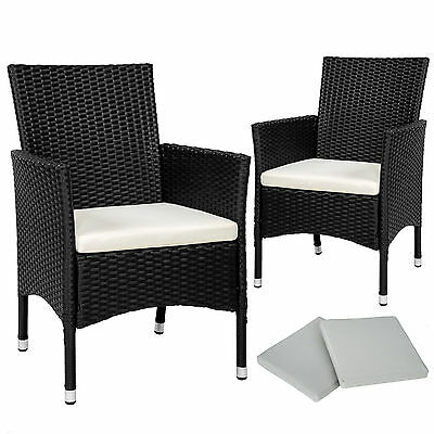 2 x Poly rattan garden chairs wicker outdoor armchair set + cushion pads black