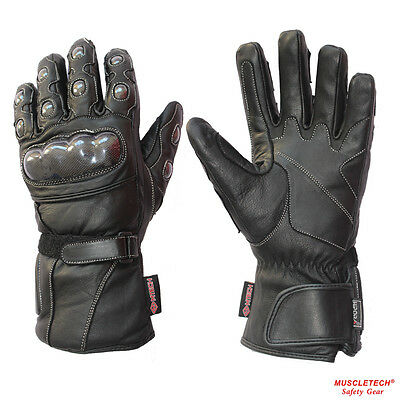MTECH Motorbike Full Leather Gloves Motorcycle Warm Winter Gloves Water proof
