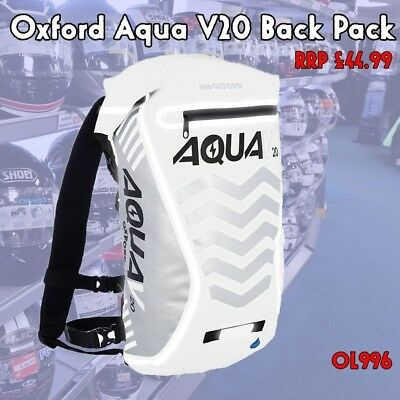 Oxford White Aqua V20 Bag Motorcycle Cycling Waterproof All Weather Back Pack