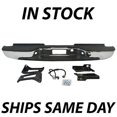 NEW Chrome Complete Rear Bumper for 1999-2007 Chevy Silverado Sierra 2500HD 3500