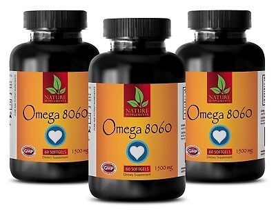 anti aging skin care - Omega 3 Pure FISH OIL 1500mg - brain support - 3 Bottles