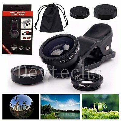 Universal 3 in1 Fish Eye+Wide Angle+Macro Clip-on Lens for iPhone 6S Samsung S6
