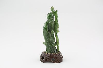 Chinese Jade Old Man with Staff and Stone Figurine with Wooden Stand