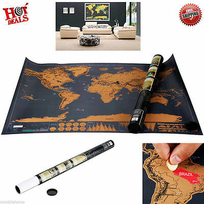 Scratch World Travel Map Deluxe Edition Retro Poster Geography Teaching Fun Toy