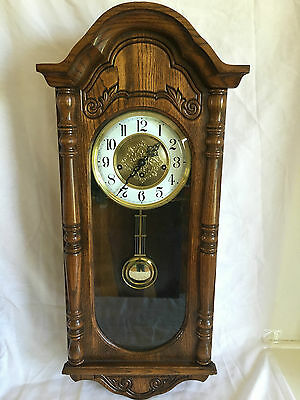 Vintage Sligh Oak Wall Clock with Movement 341-020A