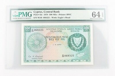 1979 Cyprus 500Mils Banknote Graded by PMG Choice UNC-64 EPQ P#42c