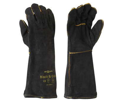 Maxisafe Black and Gold Welders Gauntlet Gloves Fabrication Foundry Safety
