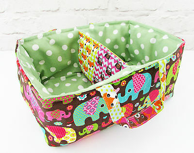 Handmade Nursery Nappy Stacker Holder Caddy - Storage Basket Tub Box Elephants