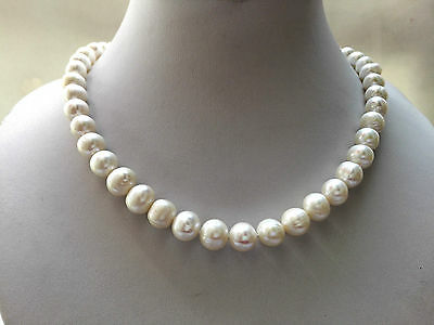 classic real nature freshwater pearl bib everyday necklace 9-10MM white