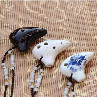 1 X 6 Hole Ceramic Mini Ocarina Handcrafted Tutorial Songbook Music Instrument