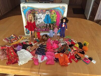 4 Vintage 1960's Dolls + Clothing + The World Of Barbie Double Doll Case Lot