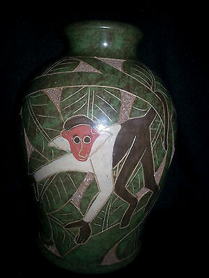 Monkey Vase Carved Pottery Costa Rica Style