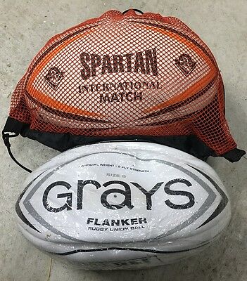 2 X Rugby Union Balls - New Grays Union Flanker / Spartan International Match