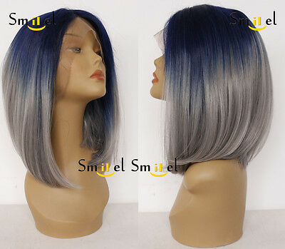 Women's Bob Lace Front Wig Blue Short Straight Heat Resist Synthetic Full Hair