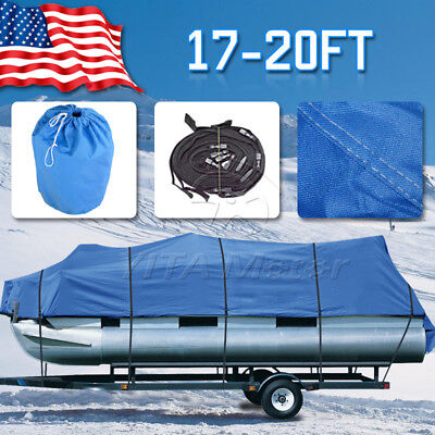 Gray 600D Heavy Duty  20'-22' Trailerable Waterproof Boat Cover V-Hull Beam 100""