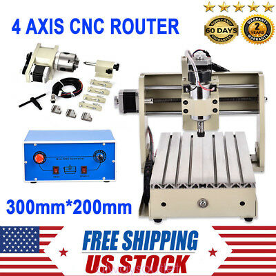 CNC Router Engraver 4 AXIS 3D Engraving Machine Wood/Metal Carving Cutter 3020
