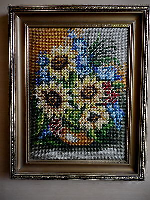 Tapestry Picture Completed And Framed Gobelin 59713 Flowers Yellow Blue In Vase