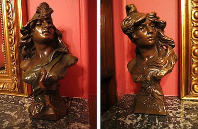 Pair of antique Art Nouveau plaster busts of VELLÉDA and CLEOPATRE