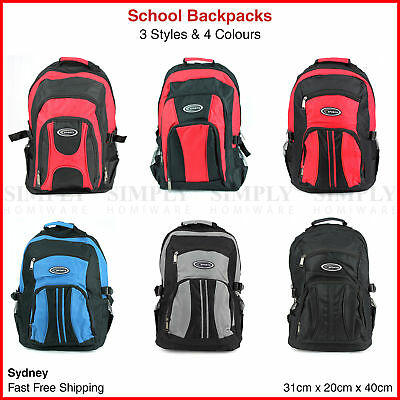 School Backpacks Canvas Back Pack Gym Black Red Blue Grey Small Mens Womens