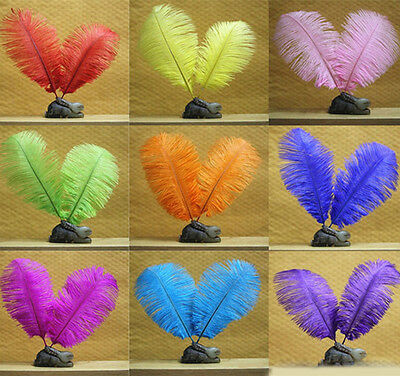 10PCS Real Natural Ostrich Feathers 12-14 inch/30-35cm For Wedding Decoration AU
