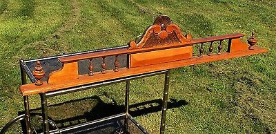 "Large Antique Gorgeous Hand Carved Wooden Pediment Overdoor Flowers 55 "" Door"