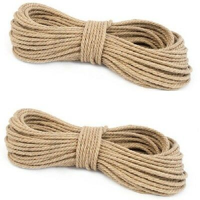 100% Pure Natural Jute Hessian Rope Cord Twisted Garden Decking 6mm Thick