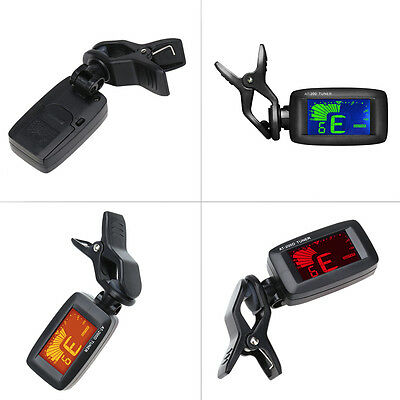 Durable Digital Clip-On Tuner for Acoustic Electric Guitar Bass Violin Black BU