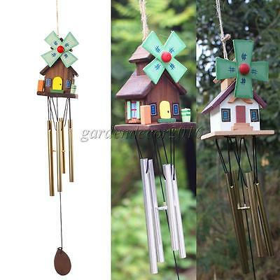 Wooden House Wind Chimes 4 Metal Tube Yard Garden Outdoor Living Home Decor