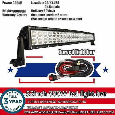 52 inch Curved LED Work Light Bar SUV 4WD ATV UTE 4X4 Offroad Truck Jeep Ford 50