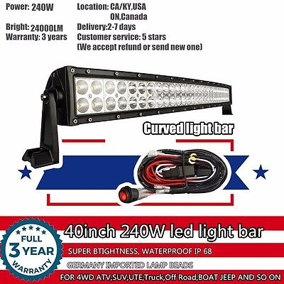40 inch Curved LED Work Light Bar SUV 4WD ATV UTE 4X4 Offroad Truck Jeep Ford 42
