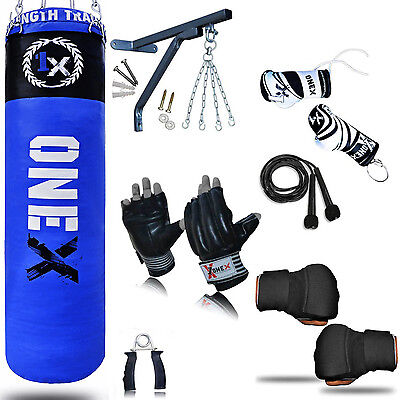 NEW 1X Boxing Set 5ft Filled Heavy Punch Bag Gloves,Chains,Bracket,Kick