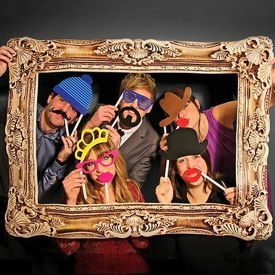 Box 51 Photo Booth 24 Props On Sticks and Large Frame for Weddings Parties Proms
