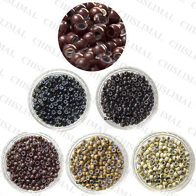 Silicone Lined Nano Rings Beads for use with Nano Tip Hair Extensions COLORFUL