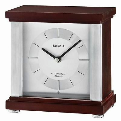 Seiko QXW247B 12 Melodies Westminster Chimes Wooden Mantel Clock