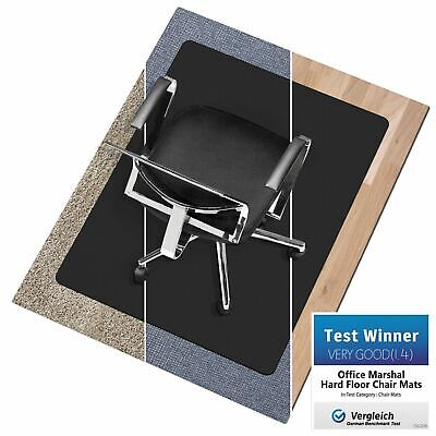 Black, Non Slip, PVC free Office Chair Mat * Hard Wood Floor Protection Cover