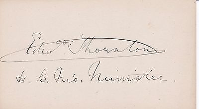 EDWARD THORNTON British Minister to America c.1880 AUTOGRAPH