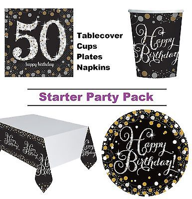 Gold Sparkling 50th Birthday 8-48 Guest Party Pack Cup Plate Napkin Tablecover